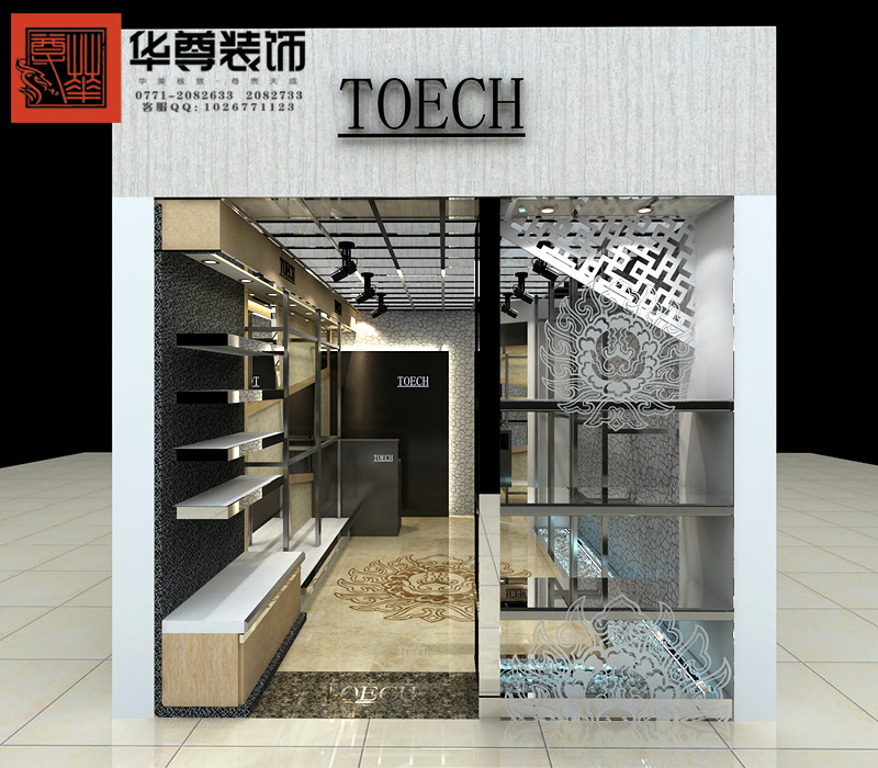 建议服装店门头采用单色设计,简洁,大气,整体,稳重,易记.